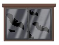 コウモリが飛ぶ窓